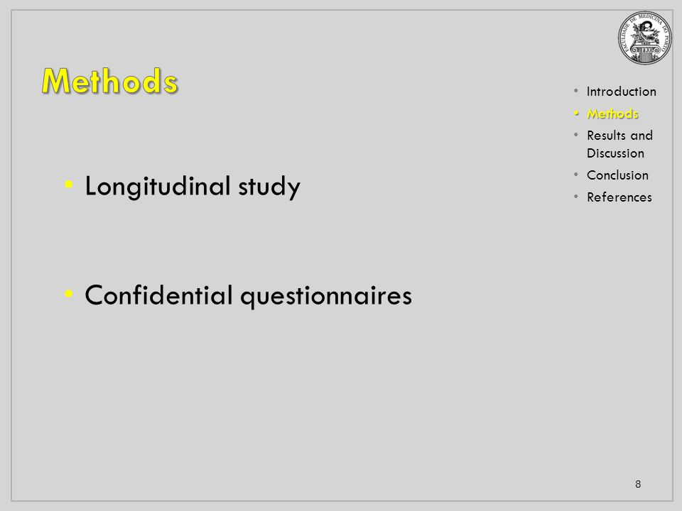 Introduction Methods Methods Results and Discussion Conclusion References 8 Longitudinal study Confidential questionnaires