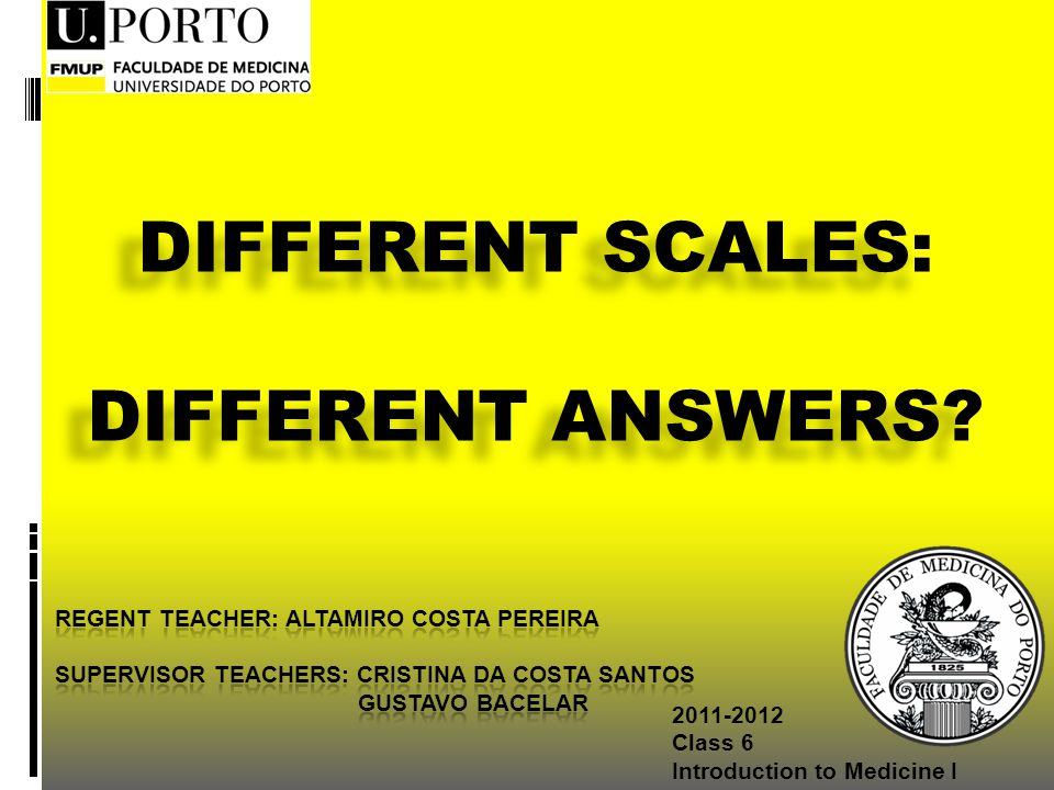 Class 6 Introduction to Medicine I DIFFERENT SCALES: DIFFERENT ANSWERS.