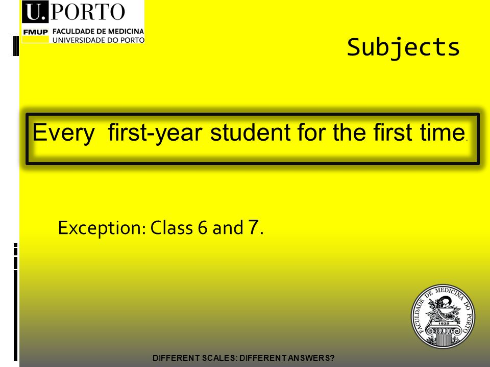 Subjects Exception: Class 6 and 7. DIFFERENT SCALES: DIFFERENT ANSWERS.