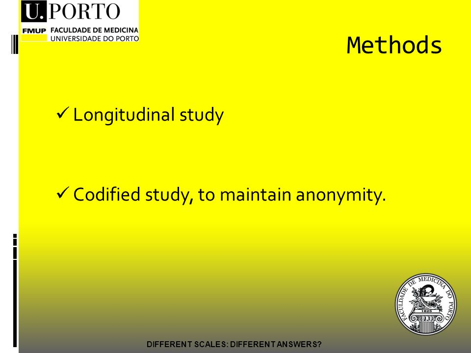Methods Longitudinal study Codified study, to maintain anonymity.