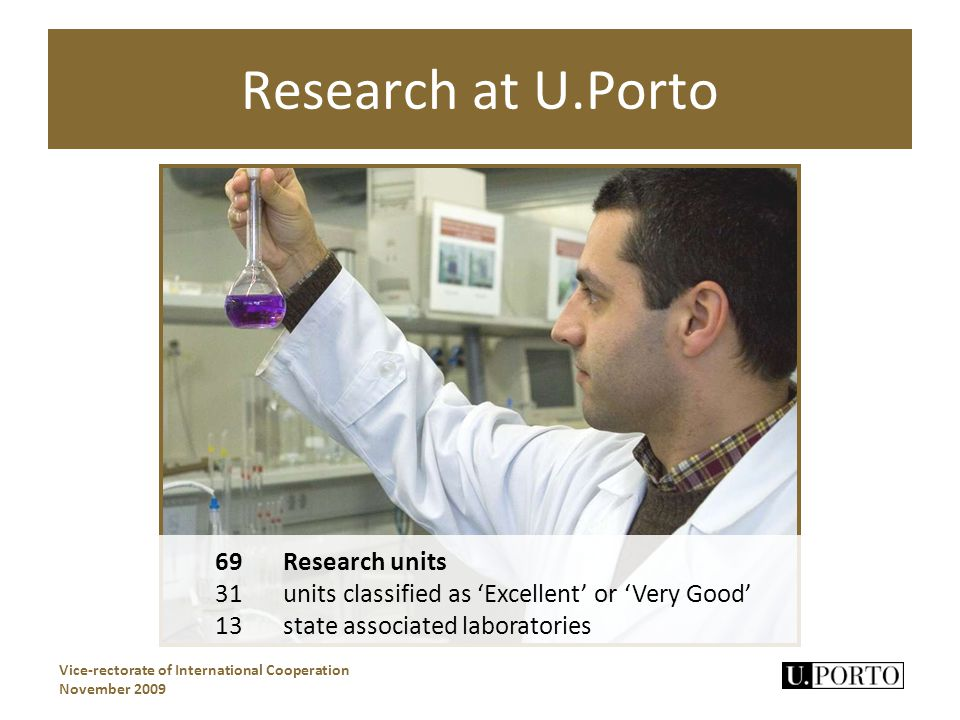 Research at U.Porto Vice-rectorate of International Cooperation November 2009 69 Research units 31 units classified as Excellent or Very Good 13state associated laboratories