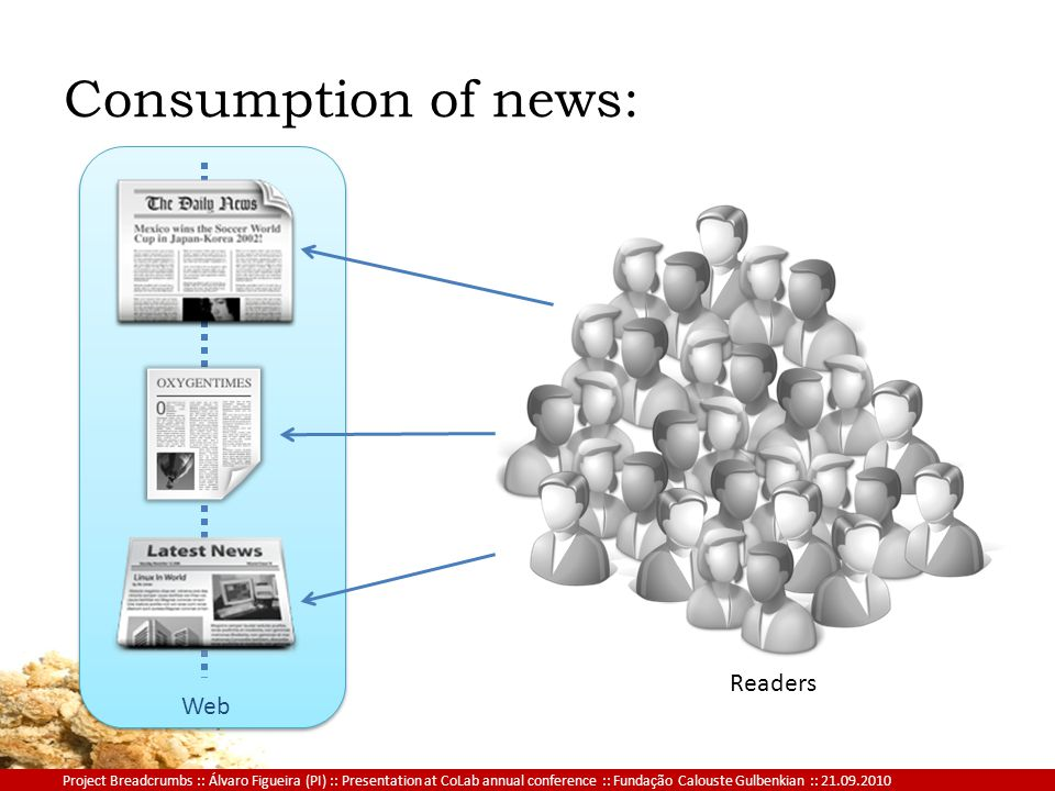 Project Breadcrumbs :: Álvaro Figueira (PI) :: Presentation at CoLab annual conference :: Fundação Calouste Gulbenkian :: 21.09.2010 Web Consumption of news: Readers