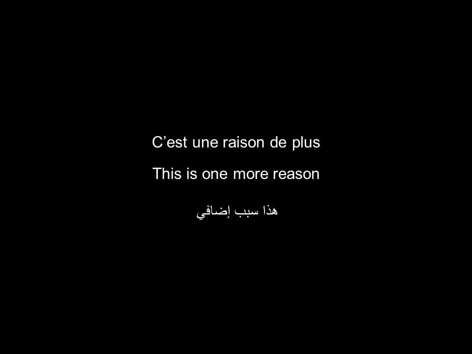 This is one more reason هذا سبب إضافي Cest une raison de plus