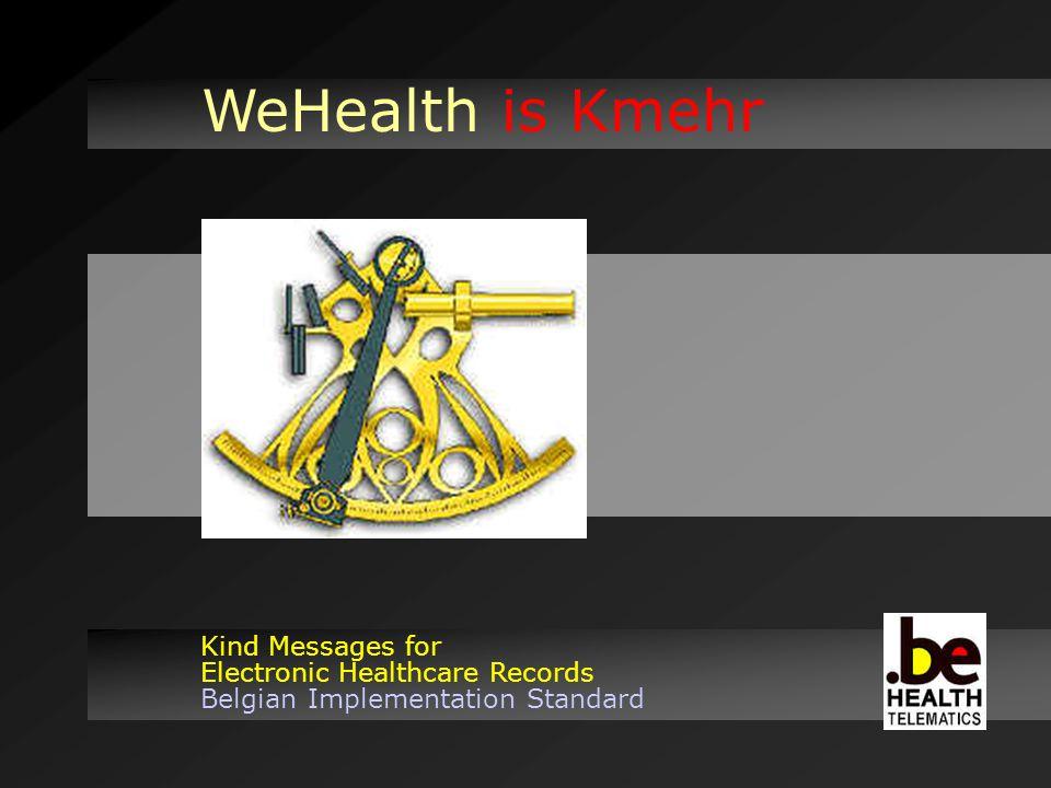 WeHealth is Kmehr Kind Messages for Electronic Healthcare Records Belgian Implementation Standard Un alphabet : xml Une grammaire : xschema Des mots : codifications Des messages : 20 defined transactions Including...