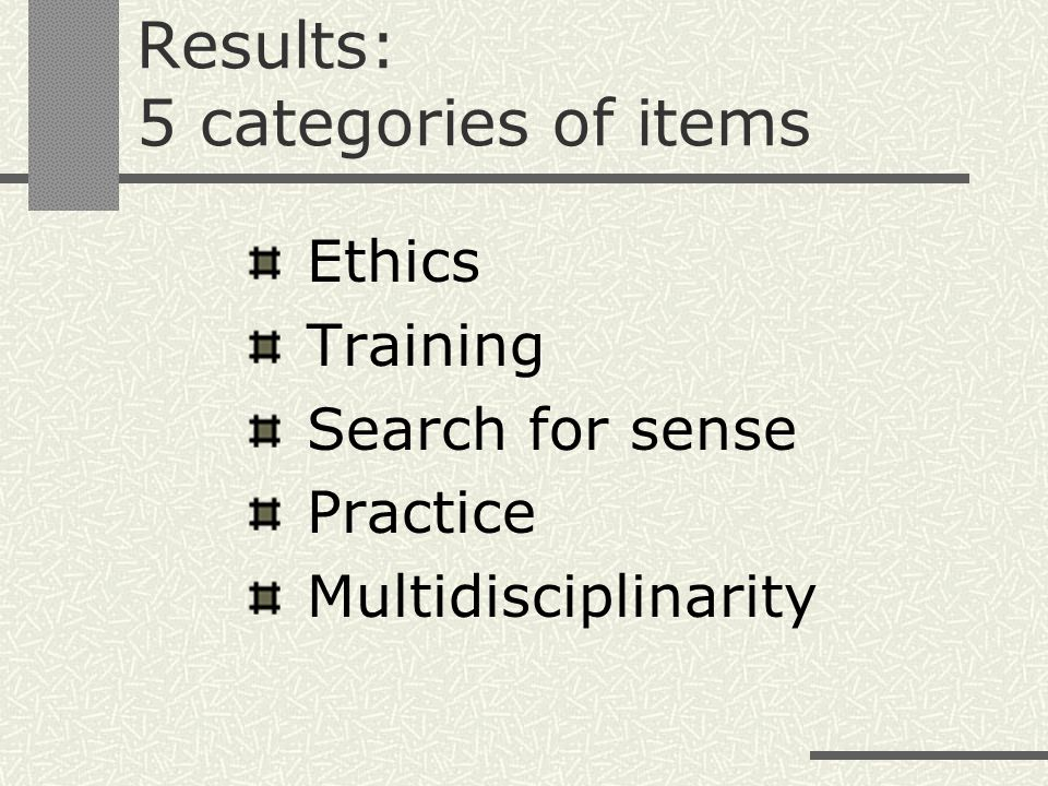 Results: 5 categories of items Ethics Training Search for sense Practice Multidisciplinarity