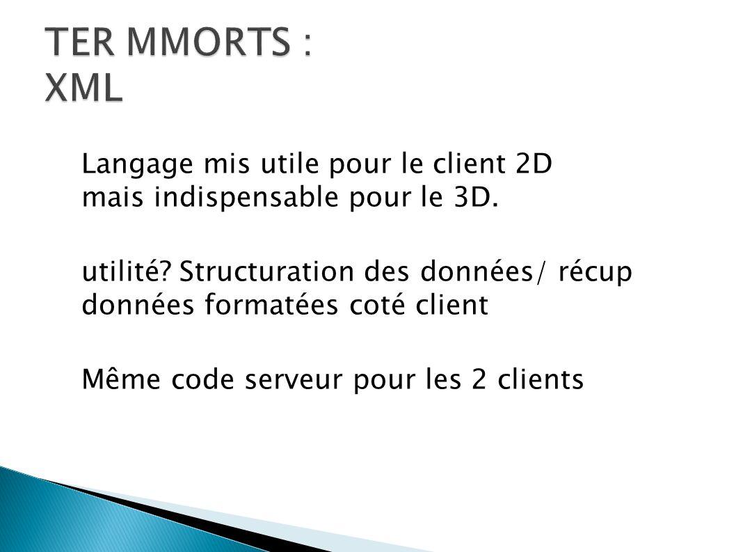 Langage mis utile pour le client 2D mais indispensable pour le 3D.