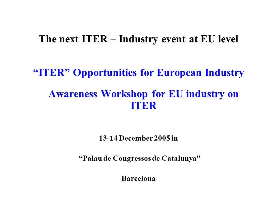 The next ITER – Industry event at EU level ITER Opportunities for European Industry Awareness Workshop for EU industry on ITER 13-14 December 2005 in Palau de Congressos de Catalunya Barcelona