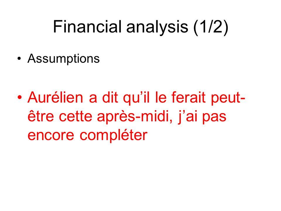 Financial analysis (1/2) Assumptions Aurélien a dit quil le ferait peut- être cette après-midi, jai pas encore compléter