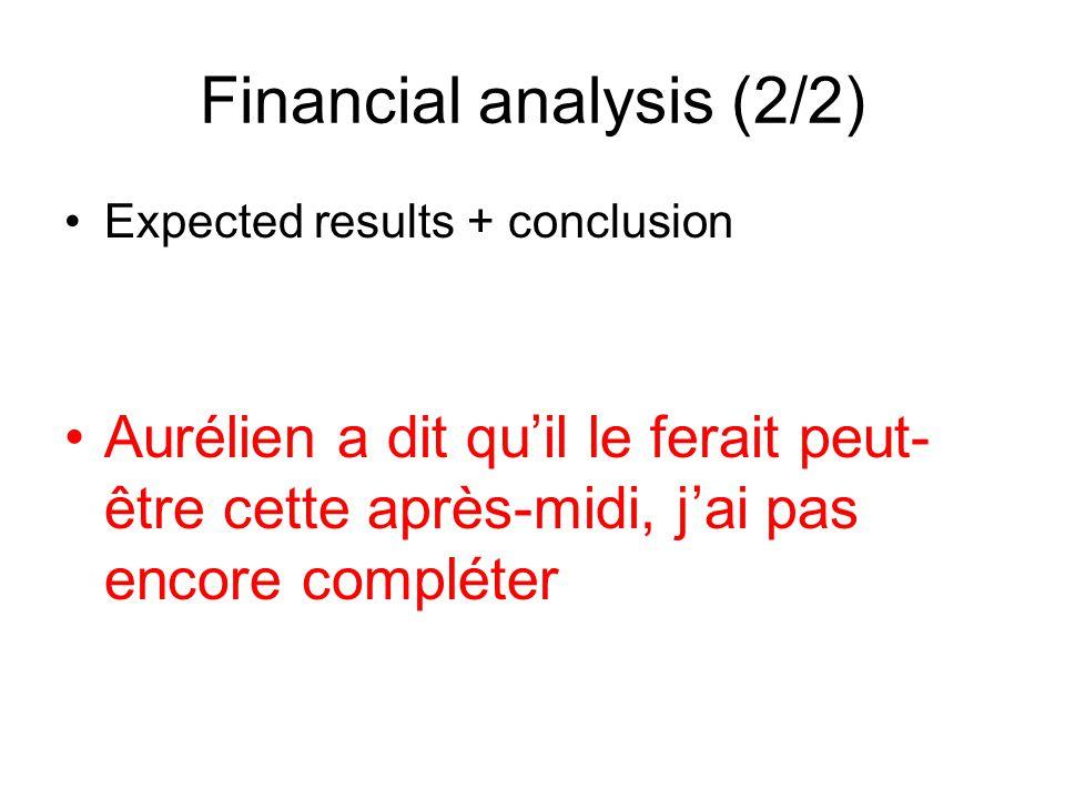 Expected results + conclusion Aurélien a dit quil le ferait peut- être cette après-midi, jai pas encore compléter Financial analysis (2/2)