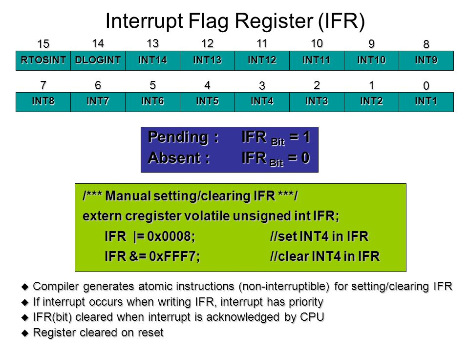 Interrupt Flag Register (IFR) RTOSINTDLOGINTINT14INT13INT12INT11INT10INT9 8 9 1011121314 15 INT8INT7INT6INT5INT4INT3INT2INT1 0 1234567 Pending :IFR Bit = 1 Absent :IFR Bit = 0 Compiler generates atomic instructions (non-interruptible) for setting/clearing IFR Compiler generates atomic instructions (non-interruptible) for setting/clearing IFR If interrupt occurs when writing IFR, interrupt has priority If interrupt occurs when writing IFR, interrupt has priority IFR(bit) cleared when interrupt is acknowledged by CPU IFR(bit) cleared when interrupt is acknowledged by CPU Register cleared on reset Register cleared on reset /*** Manual setting/clearing IFR ***/ extern cregister volatile unsigned int IFR; IFR |= 0x0008;//set INT4 in IFR IFR |= 0x0008;//set INT4 in IFR IFR &= 0xFFF7;//clear INT4 in IFR IFR &= 0xFFF7;//clear INT4 in IFR