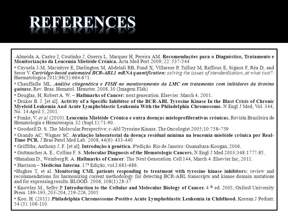 Almeida A, Castro I, Coutinho J, Guerra L, Marques H, Pereira AM. Recomendações para o Diagnóstico, Tratamento e Monitorização da Leucemia Mielóide Cr