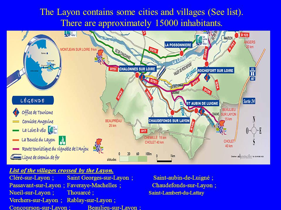 The Layon contains some cities and villages (See list).