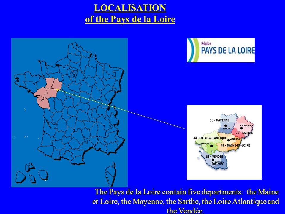 LOCALISATION of the Pays de la Loire The Pays de la Loire contain five departments: the Maine et Loire, the Mayenne, the Sarthe, the Loire Atlantique and the Vendée.