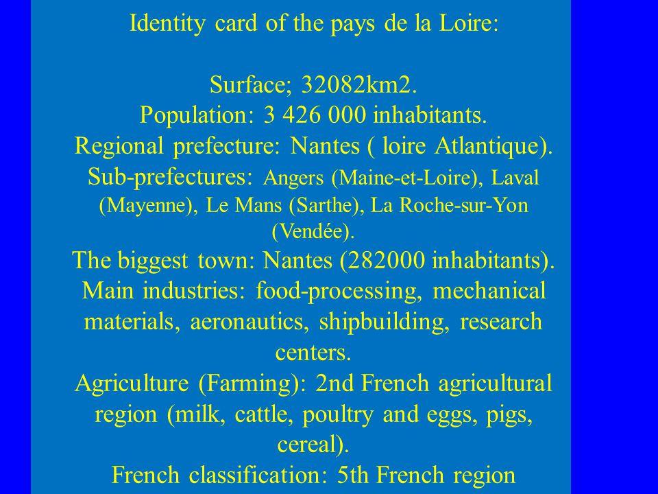 Identity card of the pays de la Loire: Surface; 32082km2.