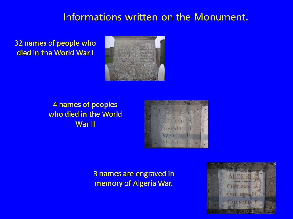 Informations written on the Monument.