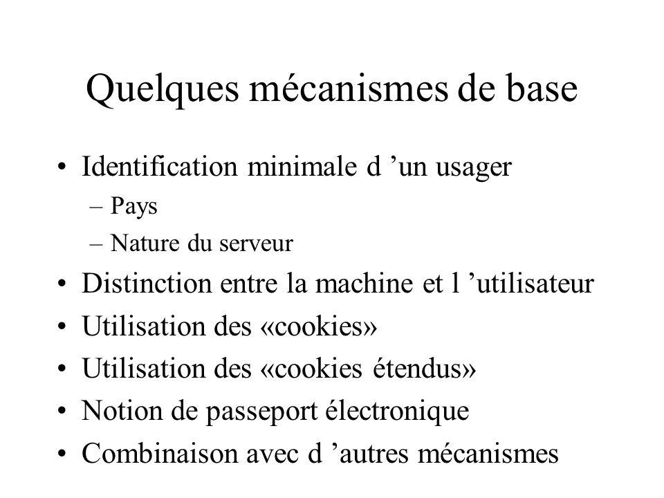 Quelques mécanismes de base Identification minimale d un usager –Pays –Nature du serveur Distinction entre la machine et l utilisateur Utilisation des «cookies» Utilisation des «cookies étendus» Notion de passeport électronique Combinaison avec d autres mécanismes