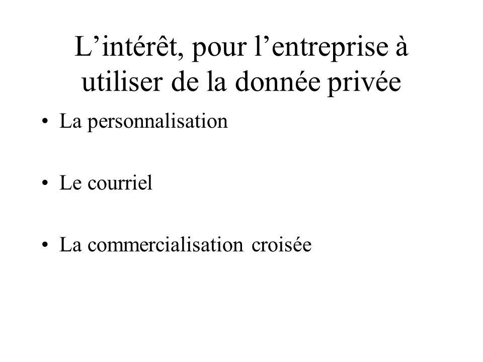 Lintérêt, pour lentreprise à utiliser de la donnée privée La personnalisation Le courriel La commercialisation croisée