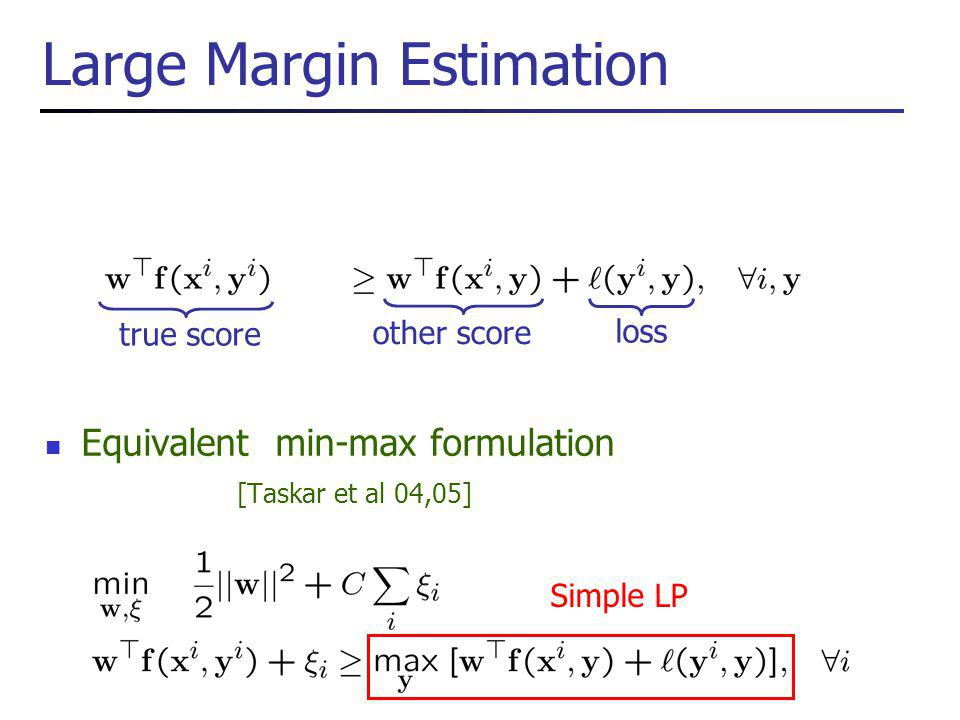 Large Margin Estimation Equivalent min-max formulation [Taskar et al 04,05] Simple LP true score other score loss