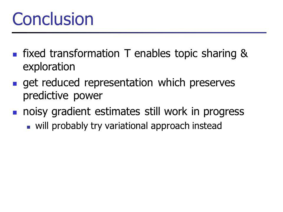 Conclusion fixed transformation T enables topic sharing & exploration get reduced representation which preserves predictive power noisy gradient estimates still work in progress will probably try variational approach instead