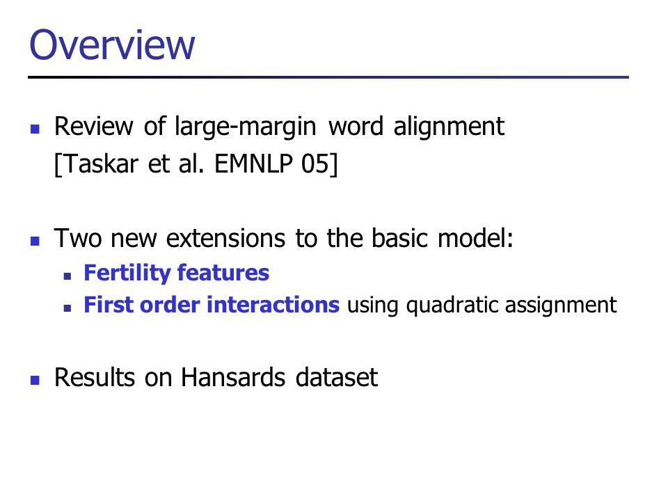 Overview Review of large-margin word alignment [Taskar et al.
