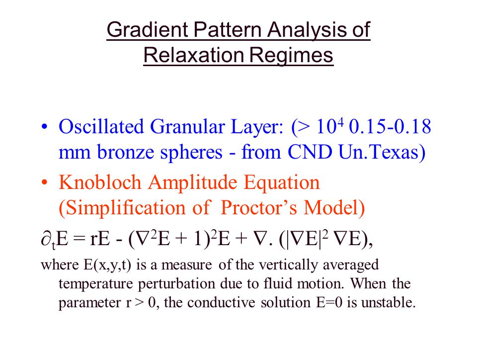 Some Important Dynamical Properties of the Gradient Moments: (1) Amplitude x Phase Dynamics | g 4 |/ t phase dynamics dominates and determine the relaxation ( g 1 / t > 0 => desordering vec.