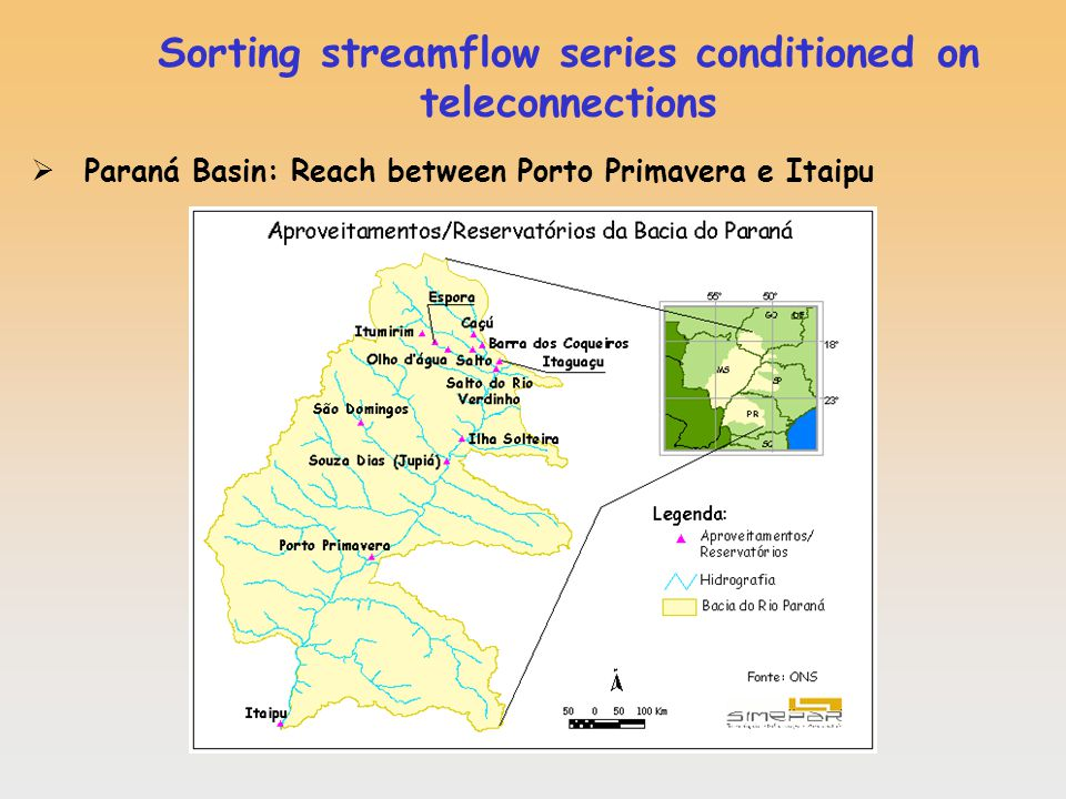 Sorting streamflow series conditioned on teleconnections Paraná Basin: Reach between Porto Primavera e Itaipu