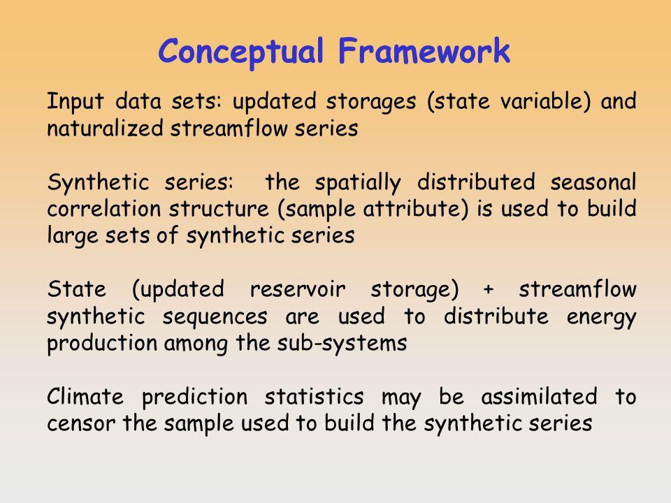 Conceptual Framework Input data sets: updated storages (state variable) and naturalized streamflow series Synthetic series: the spatially distributed seasonal correlation structure (sample attribute) is used to build large sets of synthetic series State (updated reservoir storage) + streamflow synthetic sequences are used to distribute energy production among the sub-systems Climate prediction statistics may be assimilated to censor the sample used to build the synthetic series