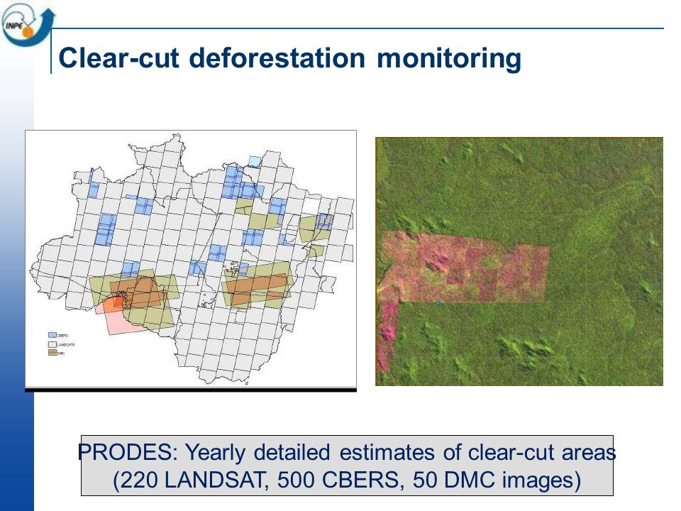 ~230 scenes Landsat/year PRODES: Yearly detailed estimates of clear-cut areas (220 LANDSAT, 500 CBERS, 50 DMC images) Clear-cut deforestation monitori