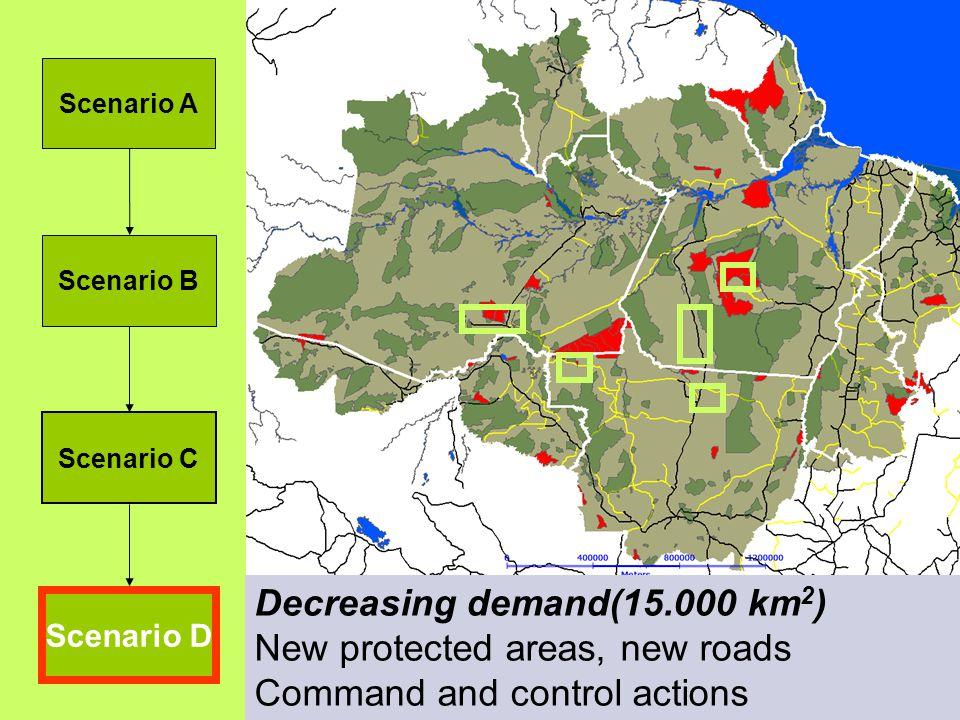 Scenario A Scenario B Scenario C Scenario D Estradas não pavimentadas Rios principais Estradas pavimentadas em 2010 Áreas protegidas em 1997 Novas áreas protegidas (2004) Ações de comando e controle (locais de cumprimento da lei) Limites estaduais Demanda: 25.000 km 2 Estradas não pavimentadas Rios principais Estradas pavimentadas em 2010 Áreas protegidas em 1997 Novas áreas protegidas (2004) Ações de comando e controle (locais de cumprimento da lei) Limites estaduais Demanda: 15.000 km 2 Decreasing demand(15.000 km 2 ) New protected areas, new roads Command and control actions