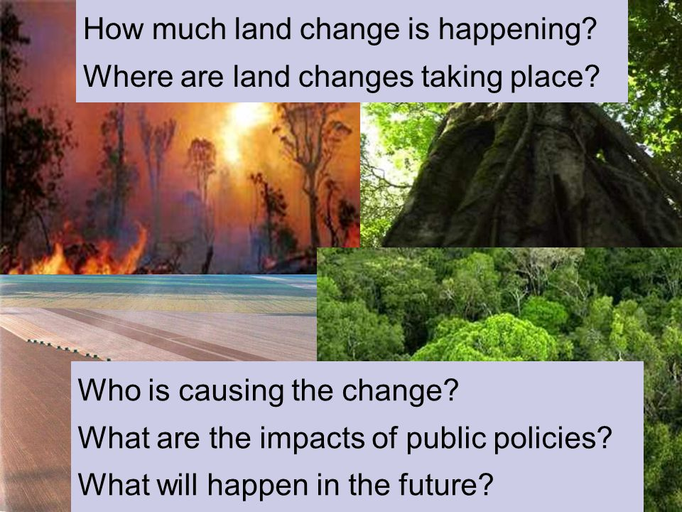 Global Change How much land change is happening? Where are land changes taking place? Who is causing the change? What are the impacts of public polici