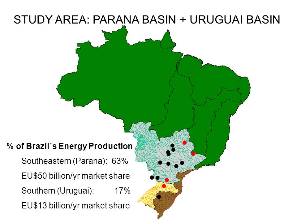 % of Brazil´s Energy Production Southeastern (Parana): 63% EU$50 billion/yr market share Southern (Uruguai): 17% EU$13 billion/yr market share STUDY AREA: PARANA BASIN + URUGUAI BASIN