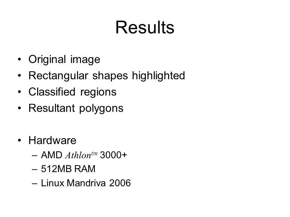 Results Original image Rectangular shapes highlighted Classified regions Resultant polygons Hardware –AMD Athlon tm 3000+ –512MB RAM –Linux Mandriva 2006