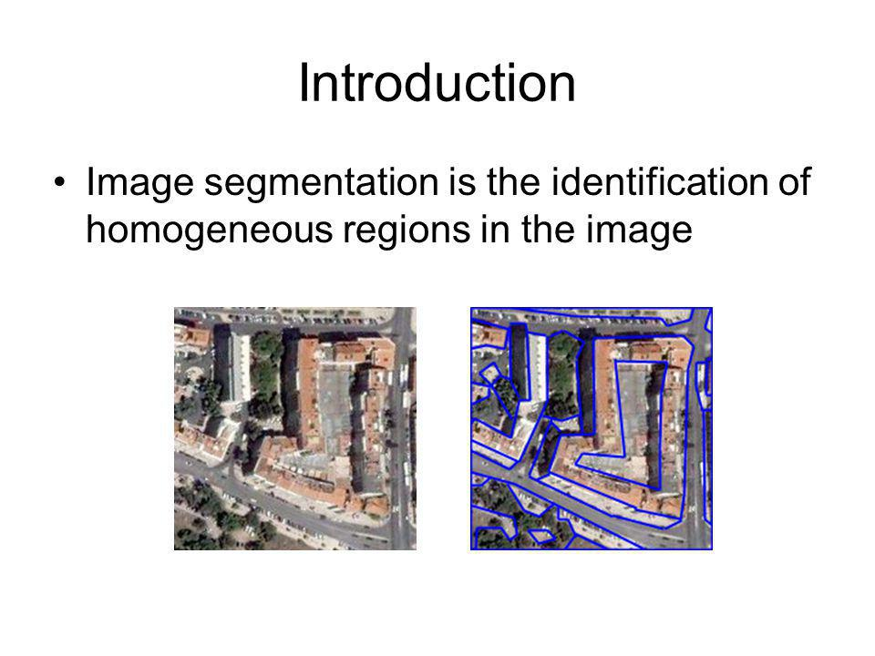 Introduction Image segmentation is the identification of homogeneous regions in the image