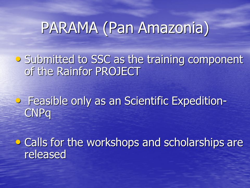 PARAMA (Pan Amazonia) Submitted to SSC as the training component of the Rainfor PROJECT Submitted to SSC as the training component of the Rainfor PROJECT Feasible only as an Scientific Expedition- CNPq Feasible only as an Scientific Expedition- CNPq Calls for the workshops and scholarships are released Calls for the workshops and scholarships are released