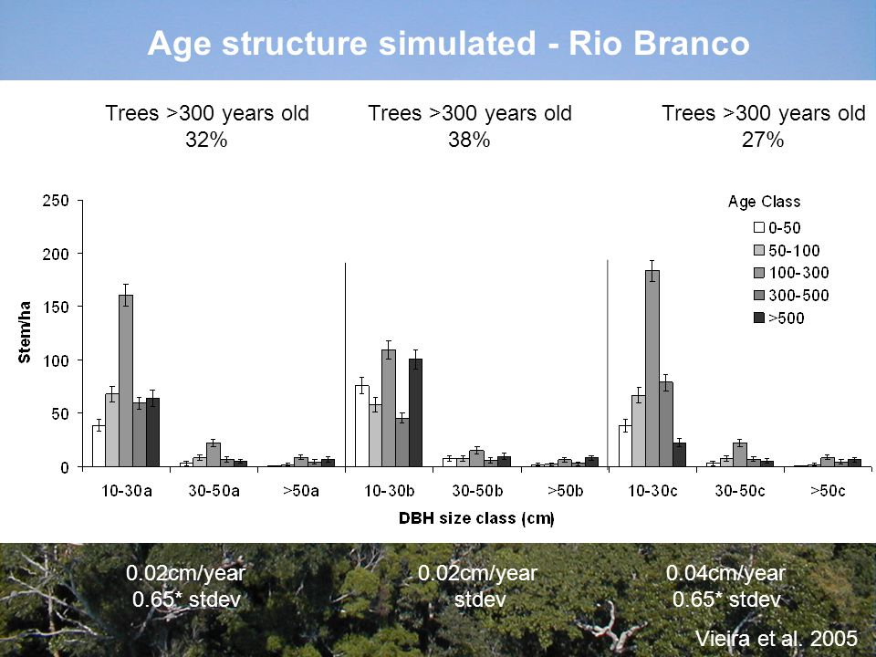 Age structure simulated - Rio Branco 0.04cm/year 0.65* stdev 0.02cm/year stdev 0.02cm/year 0.65* stdev Trees >300 years old 32% Trees >300 years old 3