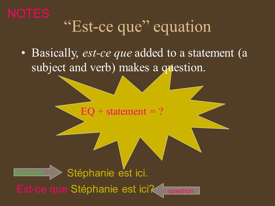 Est-ce que equation EQ + statement = .