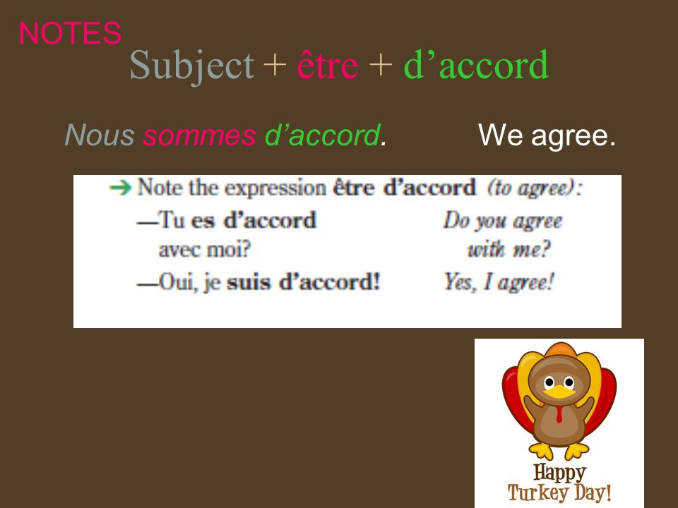 Subject + être + daccord Nous sommes daccord. We agree. NOTES
