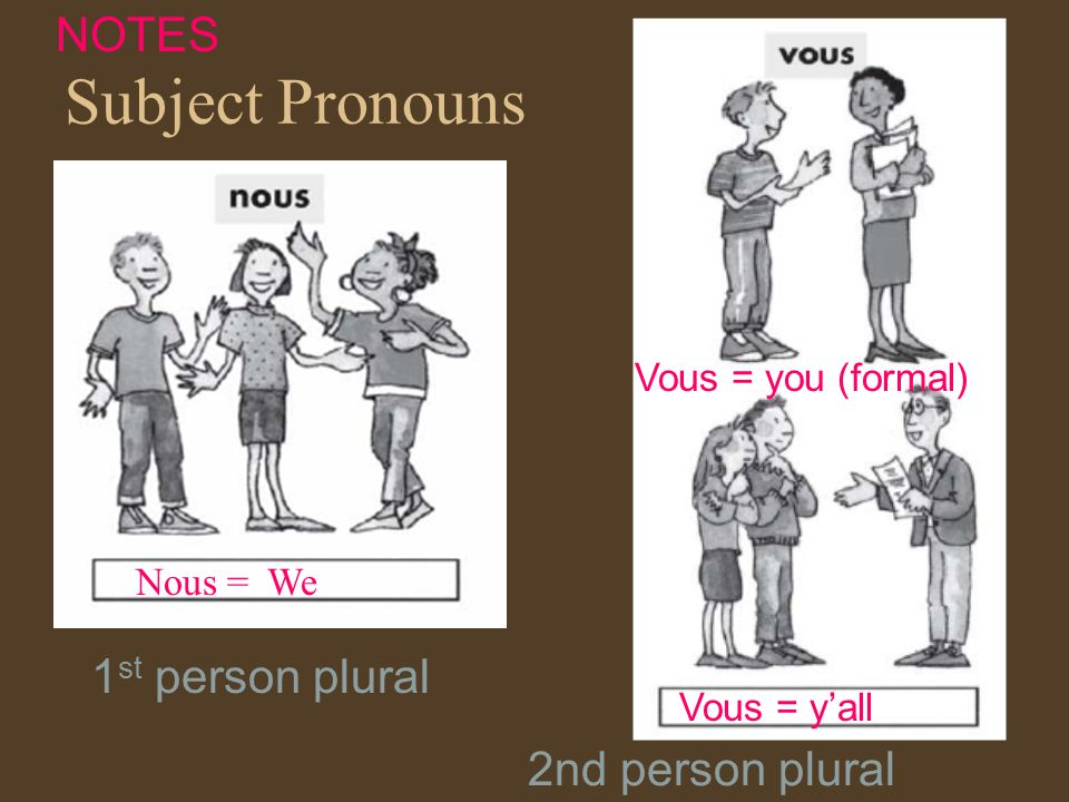 Subject Pronouns Nous = We Vous = yall Vous = you (formal) NOTES 1 st person plural 2nd person plural