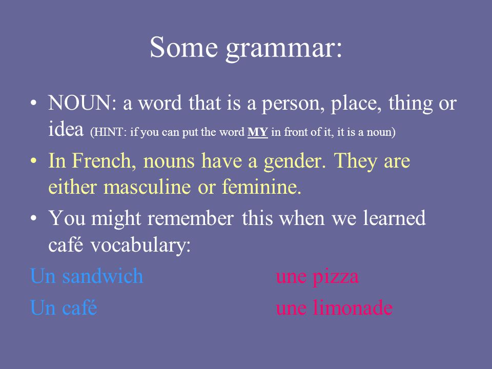 Some grammar: NOUN: a word that is a person, place, thing or idea (HINT: if you can put the word MY in front of it, it is a noun) In French, nouns hav