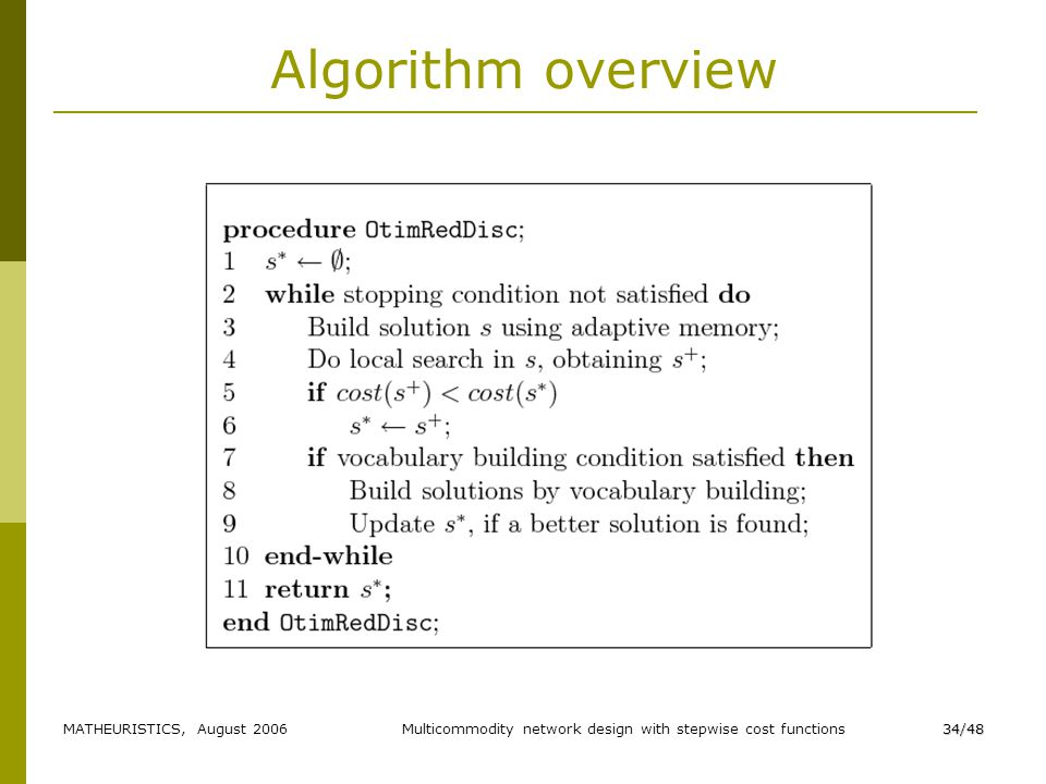 MATHEURISTICS, August 2006Multicommodity network design with stepwise cost functions34/48 Algorithm overview