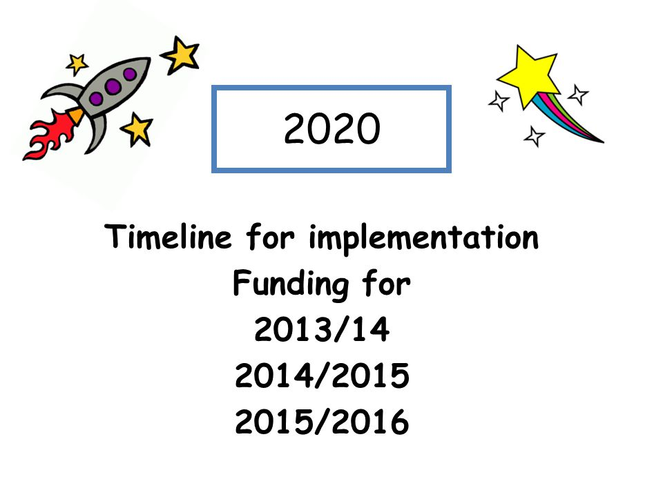 2020 Timeline for implementation Funding for 2013/14 2014/2015 2015/2016