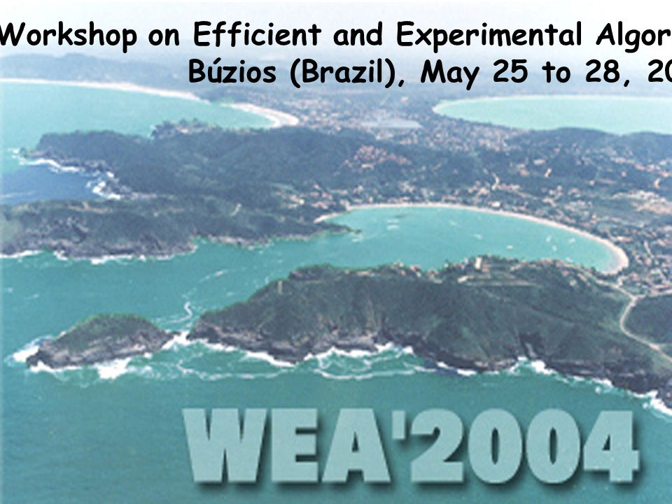 August 2003 Tabu search heuristic to partition coloring35/36 MIC2003 Announcements IV Workshop on Efficient and Experimental Algorithms Búzios (Brazil), May 25 to 28, 2004 IV Workshop on Efficient and Experimental Algorithms Búzios (Brazil), May 25 to 28, 2004