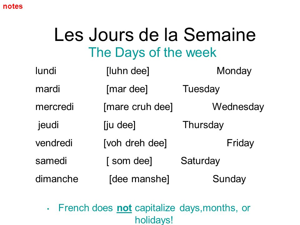 Les Jours de la Semaine The Days of the week lundi [luhn dee] Monday mardi [mar dee]Tuesday mercredi [mare cruh dee] Wednesday jeudi [ju dee]Thursday
