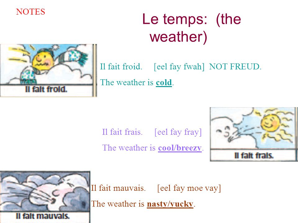 Le temps: (the weather) NOTES Il fait froid. [eel fay fwah] NOT FREUD. The weather is cold. Il fait frais. [eel fay fray] The weather is cool/breezy.