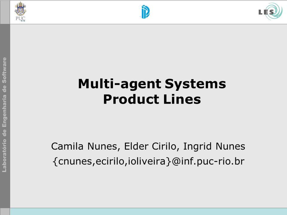 Multi-agent Systems Product Lines Camila Nunes, Elder Cirilo, Ingrid Nunes {cnunes,ecirilo,ioliveira}@inf.puc-rio.br