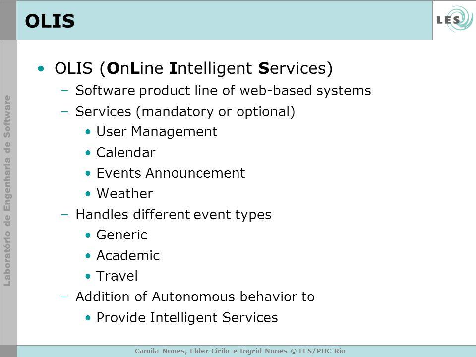 Camila Nunes, Elder Cirilo e Ingrid Nunes © LES/PUC-Rio OLIS OLIS (OnLine Intelligent Services) –Software product line of web-based systems –Services
