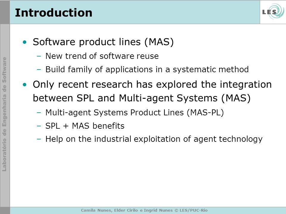 Camila Nunes, Elder Cirilo e Ingrid Nunes © LES/PUC-Rio Introduction Software product lines (MAS) –New trend of software reuse –Build family of applic