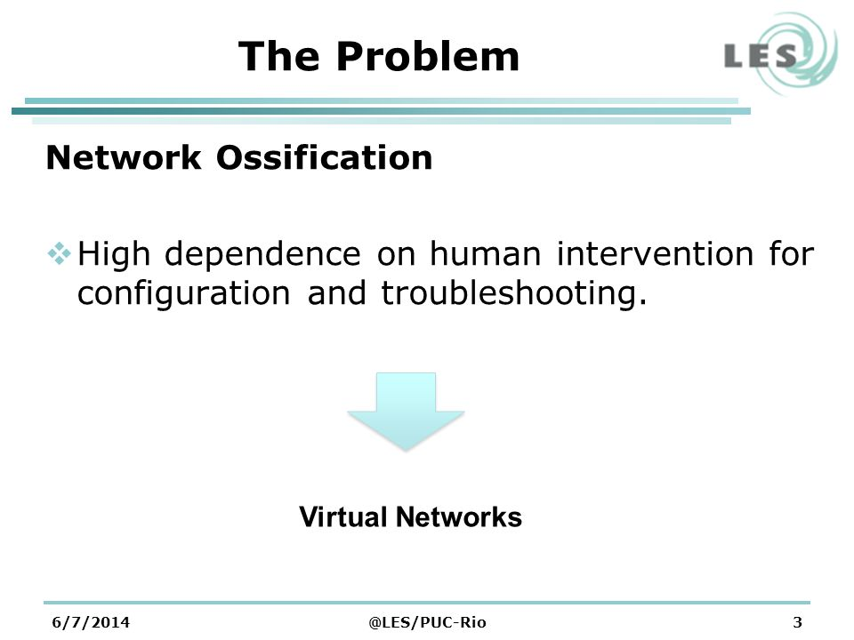 6/7/2014@LES/PUC-Rio3 The Problem Network Ossification High dependence on human intervention for configuration and troubleshooting.