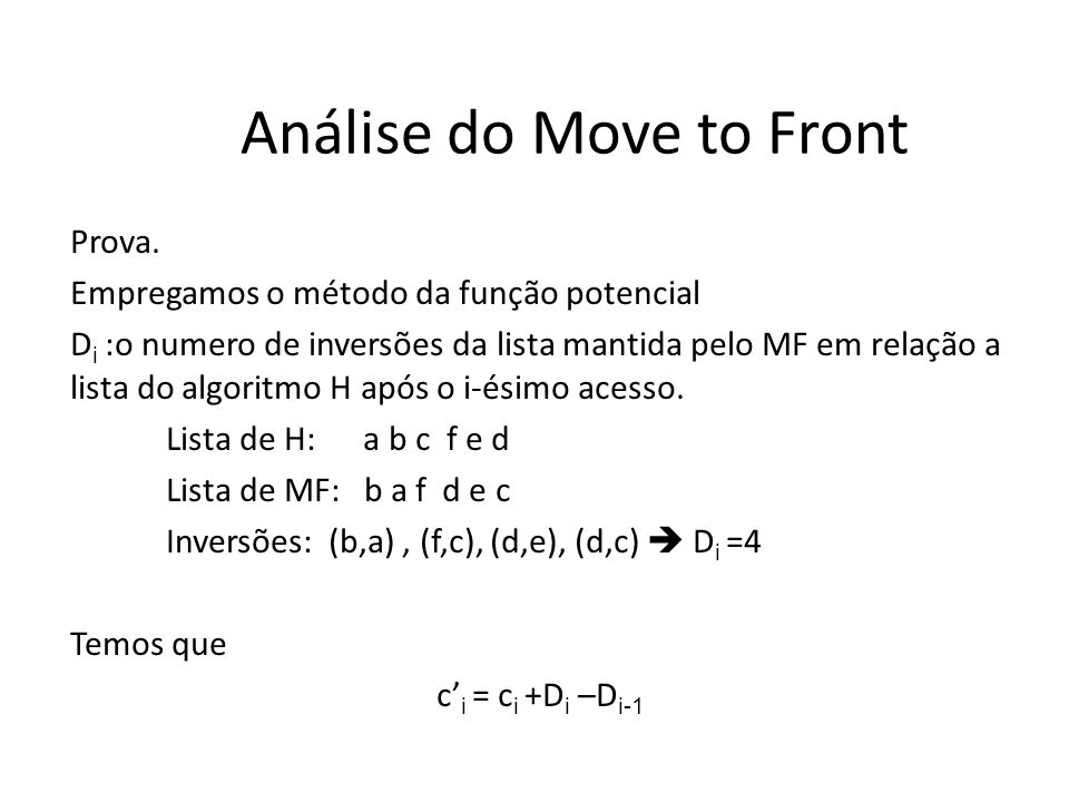 Análise do Move to Front Prova.