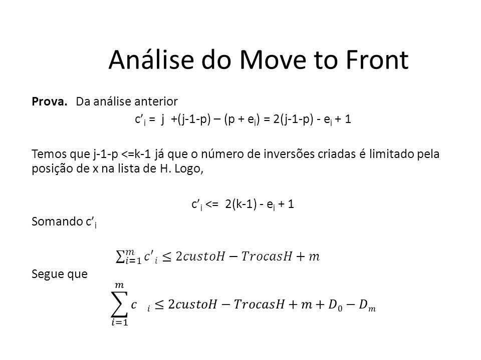 Análise do Move to Front